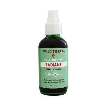 Wild Thera Herbal Radiant Body Oil to rejuvenate skin cells, lighten and brighten skin tone, remove impurities. Unclog pores, detox and exfoliate with natural oils, herbs and Aromatherapy EO blend. [Radiant Body Oil]