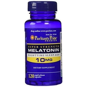 Puritan's Pride Super Strength Rapid Release Capsules Melatonin 10 mg -- 2 Bottles each of 120 Count