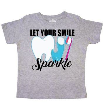 Let Your Smile Sparkle with Toothbrush Toothpaste and Tooth Toddler T-Shirt [baby_clothing_size: baby_clothing_size-3t]