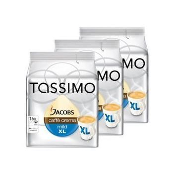 Pack of 3 Tassimo Jacobs Caffe Crema Mild XL cups -pods -