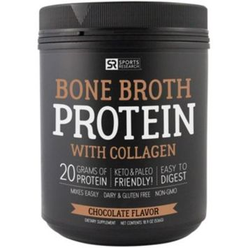 Sport Research Bone Broth Protein - CHOCOLATE (1.2 Pound Powder) by Sports Research Corporation at the Vitamin Shoppe