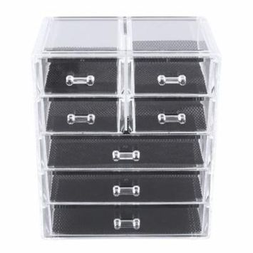7 Grid Acrylic Makeup Organizer Drawer Cosmetic Storage Box Display Cabinet on Clearance