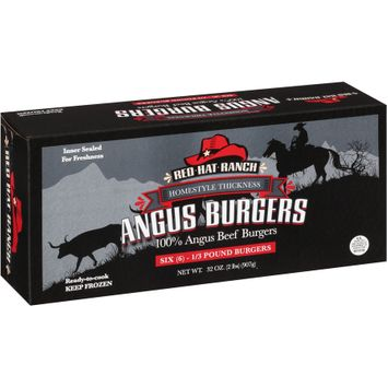 Red Hat Ranch 6 3 Pound Homestyle Thickness 100% Angus Beef Burgers