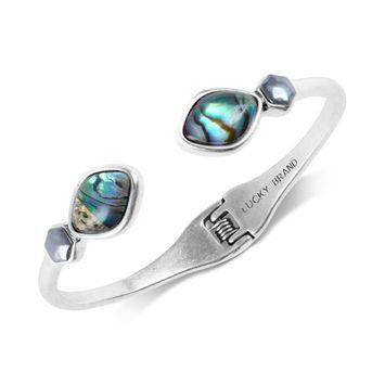 Silver-Tone Stone & Imitation Pearl Cuff Bracelet