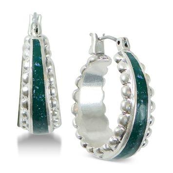 Silver-Tone Green Small Hoop Earrings
