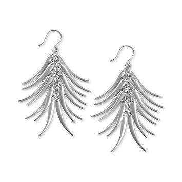 Silver-Tone Elongated Petal Drop Earrings