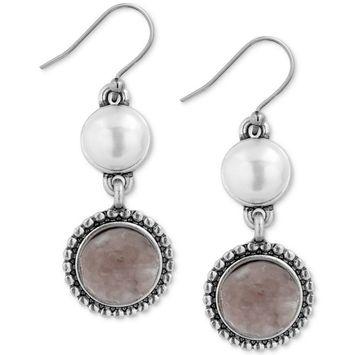 Silver-Tone Druzy Stone & Imitation Pearl Drop Earrings