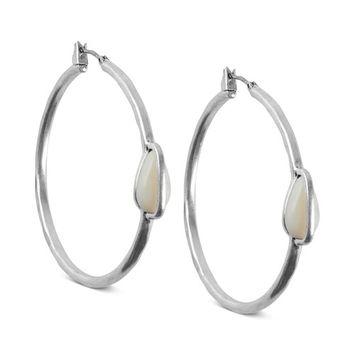 Silver-Tone Imitation Mother-of-Pearl Medium Hoop Earrings