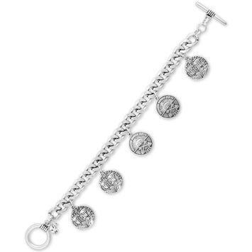 Silver-Tone Coin Charm Bracelet