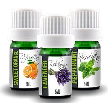 Simply Diffusers Aroma2Go Starter Pack Pure 5ml Essential Oils Set Of 3, All 100% Pure Plant Based Peppermint, Lavender, Sweet Orange