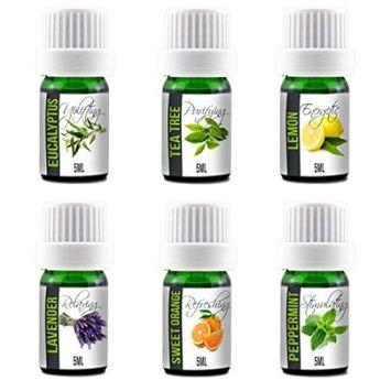 Simply Diffusers Aroma2Go 100% Pure 5ml Essential Oils Set Peppermint, Lavender, Sweet Orange, Lemon, Tea Tree & Eucalyptus (Six Pack Essentials)