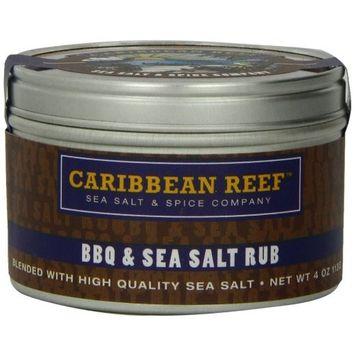 Caribbean Reef BBQ & Sea Salt Rub, 4-Ounce Tins (Pack of 4)