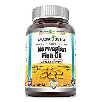 Amazing Omega Norwegian Fish Oil 1250mg 120 Softgels Lemon Flavor - Supports anti-inflammatory, heart, joint & brain health