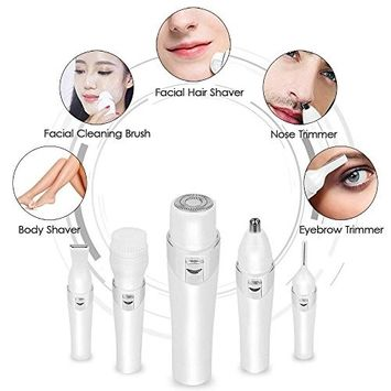 Painless Electric Shavers 5 in 1 Hair Remover for Women with Facial Hair Removal, Women's Bikini Trimmer, Eyebrow Razor, Nose Hair Shaver, Facial Cleansing Brush
