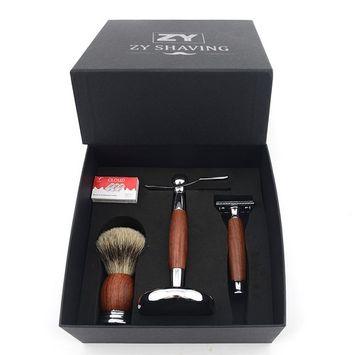 Grandslam Men Safety Shaving Razor Kit Badger Hair Brush Stand + 10 Double Edge Blades