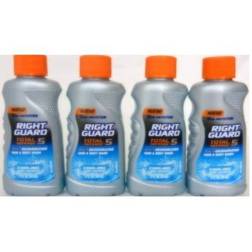 Right Guard Total Defense - 5, 5-in-1 Deodorizing Hair & Body Wash, Cooling with Menthol, 2 Fl. Oz. (4 Pack Value Bundle)