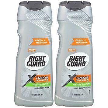 Right Guard Xtreme Fresh Energizing Fresh Moisture Hair and Body Wash 16 Oz (2 Pack)