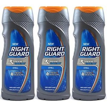 (3 Pack) Right Guard Hair & Body Wash - Xtreme Cooling -Chill- Net Wt. 16 Fl Oz