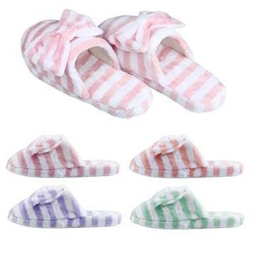 Sunward Fashion Women Indoor Slippers, Lovely Stripe Bowknot Super Soft & Lightweight Warm Home Floor Slippers Shoes (L(=US 8.5-9.5), Purple)