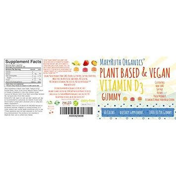 VEGAN VITAMIN D3 Gummies (Plant-Based) by MaryRuth's - Made from Lichen! Non-GMO, Paleo Friendly, VEGAN, Gluten Free, for Men, Women & Children! 1000 IUs Vitamin D3 (60 Count 1-2 Month Supply)