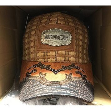 MICHOACAN EMBROIDERED INTRECCIATO WEAVE CROCODILE LEATHER CAP BROWN