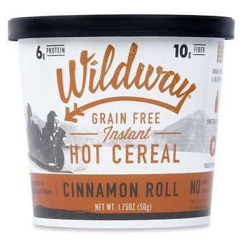 Wildway Vegan Hot Cereal Cups | Cinnamon Roll | Certified Gluten Free Instant Breakfast Cereal, Low Carb Snack | Grain-Free, Keto, Paleo, Non-GMO, No Artificial Sweetener | 6 pack [Cinnamon Roll]