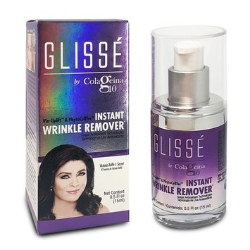 Glissé by Colageina 10 Instant wrinkle remover gel. Reduce the appearance of lines and eye puffiness, skin lifting with tightening effect that lasts up to 8 hours. Visible results in 90 secs or less