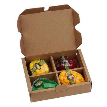 All Natural Handmade Organic Fruit Scented Glycerin 4-Piece Soap Set(Avocado, Banana, Mango, Strawberry)