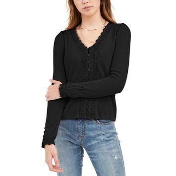 Juniors' Lace-Trimmed Button-Front Top, Created For Macy's