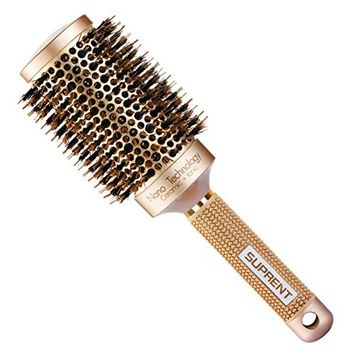 [Upgraded] SUPRENT Nano Thermal Ceramic & Ionic Round Barrel Hair Brush with Boar Bristle, Blowout Brush for Blow Drying, Curling &Straightening, Perfect Volume & Shine (2 Inch) : Beauty