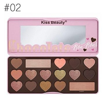 lotus.flower 16 Shade Heart Shape Matte Eyeshadow Palette Tin Collection with Mirror, Nude and Smoke
