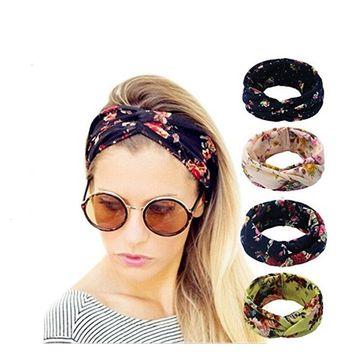 4 Pack Women's Headbands Elastic Turban Head Wrap Floal Style Hair Band