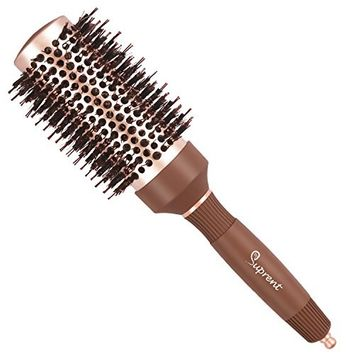 SUPRENT Round Ionic Barrel Hair Brush with Boar Bristle, Nano Thermal Ceramic Curling Brush for Hair Styling, Adding Hair Volume and Shine, Nostalgic Gold Color (1.8 inch)