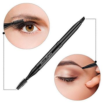 Makeup Brush Eyeshadow Brush Double Sided Eyebrow Brush and Eyelash Brush With Cap for Travel, Retractable Makeup Brush Angled Eye Brow Brush Concealer Brush Portable Cosmetic Brushes Black