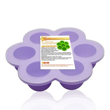 MBSSHI Silicone Baby Food Storage Container Freezer Trays with Clip-on Lid ,Silicone Egg Bites Molds,Ice Cube Trays Food Freezer for Baby Food-BPA Free and FDA Approved.Dishwasher Safe (purple)