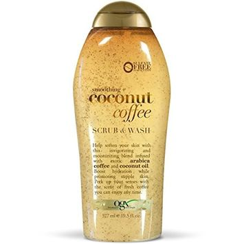 OGX Coconut Coffee Body Scrub 19.5 Ounce, Moisturizing Exfoliating Body Scrub Formulated for Dry Skin Oily Skin Normal Skin Combination Skin, with Arabica Coffee and Coconut Oil Silicone Free [Scrub]