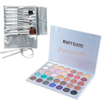 Beauty Glazed 20 Colors Eyeshadow Palette Matte & Shimmer Eye shadow + Cosmetic Brushes Kit Long Lasting Waterproof Makeup Collection