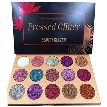 Beauty Glazed Ultra Pigmented Glitters No Glitter Glue Required Powder Glitter Eyeshadow Palette Creamy Glitter Pro Makeup Palettes for Glitter Eyes Shimmer and Gorgeous 15 Colors Waterproof Magnetic