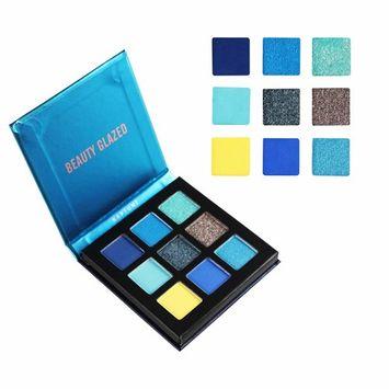 Beauty Glazed New Fashion Cosmetics 9 Colors Shimmer Eyeshadow Cream Matte Glitter Eye Shadow Palette Natural Waterproof Long Lasting Pigmented Eyeshadow Powder # 03 Noble Blue