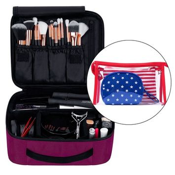 Portable Travel Makeup Train Case Organizer Storage with Cosmetic Bags 9.8'' (Hot Pink)