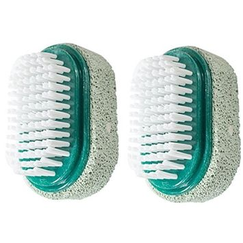 JUVITUS Two Sided Foot Scrubber: Pumice Stone Smoother & Bristle Brush Foot Exfoliator - Green, 2 Pack