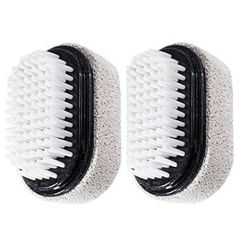 JUVITUS Two Sided Foot Scrubber: Pumice Stone Smoother & Bristle Brush Foot Exfoliator - Black, 2 Pack