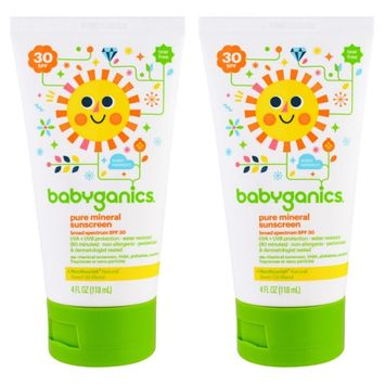 Babyganics Pure Mineral Sunscreen SPF 30, 4 oz (Pack of 2)