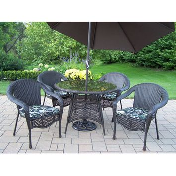 Oakland Living Elite All-Weather Wicker Patio Dining Set with Tilting