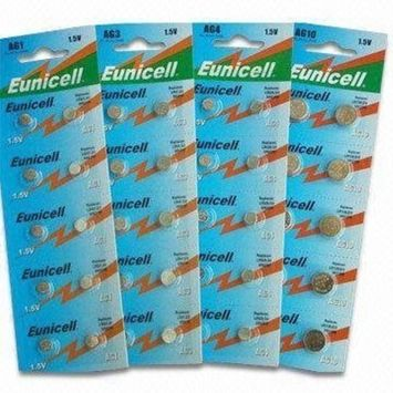 100 X AG13 LR44 L1154 357 A76 SR44 G13 High Quality Button Batteries by Eunicell