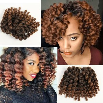 3 Packs 2X Ringlet Wand Curl JAMAICAN BOUNCE 8 inch Synthetic Hair Crochet Braids African Collection 22 roots #T30