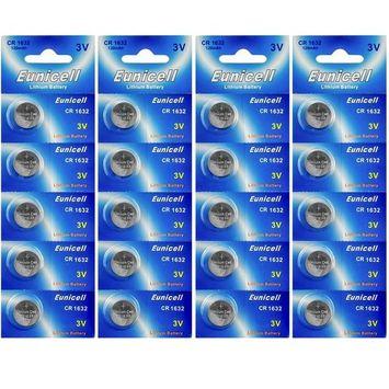 Eunicell CR1632 Lithium Blister Pack 3V 3 Volt Coin Cell Batteries (20 pcs)