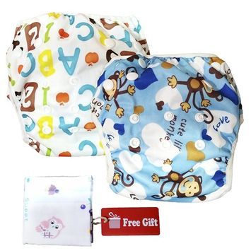 Swim Nappy Set: Pack of 2 Reusable Adjustable Swimming Diapers for 0 - 2yr Baby, Number + Monkey Designs