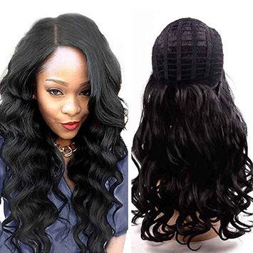 flyteng 20 inch cuerpo Wave peluca para mujer negra pelucas de pelo sintético ondulado peluca Negro Cuerpo wave ondulado peluca de mujer baratos