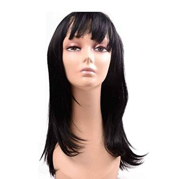 Flyteng straight synthetic wigs for black women Pre Plucked Wig with Baby Hair Synthetic Full Hair Wig 18 inch natural black color Fiber Hair Synthetic Wig